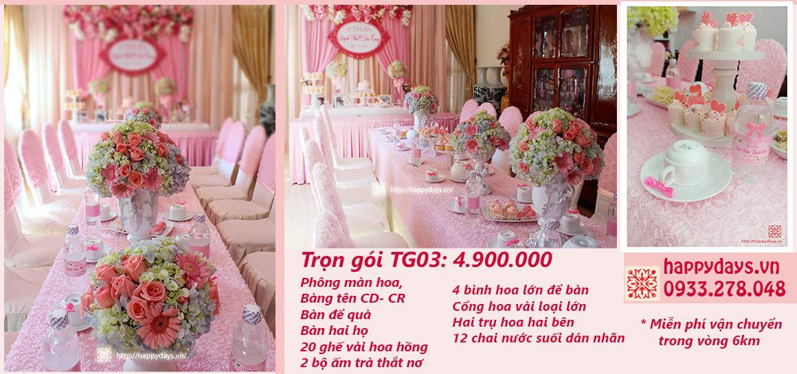 TG03-Trang trí lễ gia tiên tone hồng cao cấp