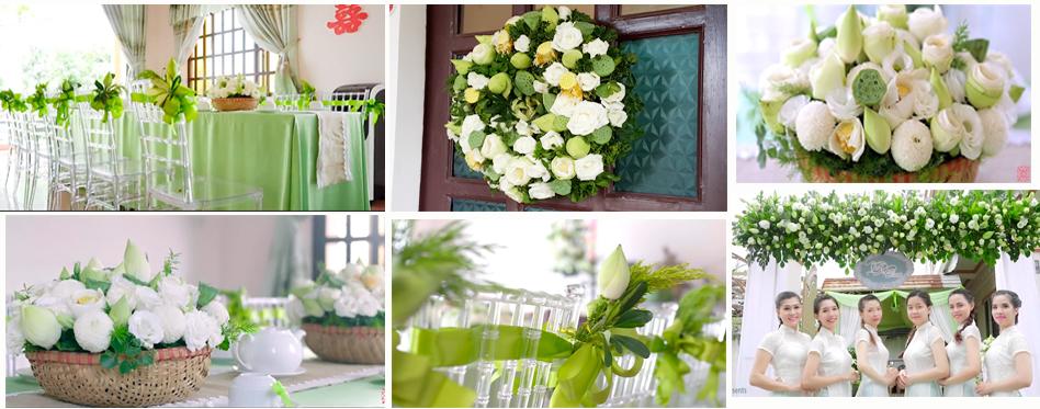 Trang trí lễ gia tiên với hoa sen truyền thống